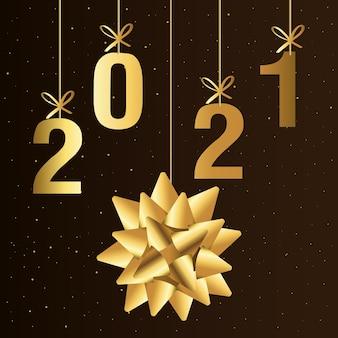 Bonne année 2021 avec conception de suspension d'arc cadeau en or, thème de bienvenue et de bienvenue
