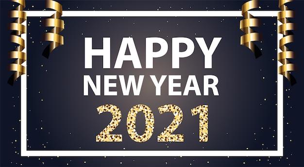 Bonne année 2021 et confettis dans le style de cadre or, bienvenue célébrer et illustration de thème de voeux