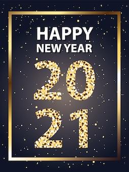 Bonne année 2021 dans un cadre avec des étoiles de style or, bienvenue célébrer et illustration de thème de voeux