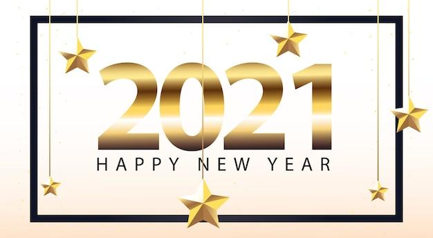 Bonne année 2021 dans le cadre avec des étoiles suspendues style or, bienvenue à célébrer et illustration de thème de voeux