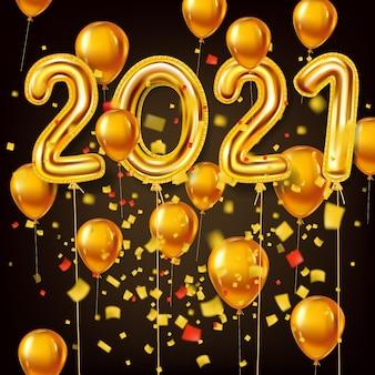 Bonne année 2021 décoration vacances fond or r