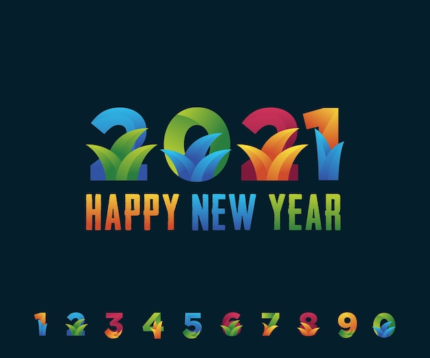 Bonne année 2021 avec ensemble de modèles de nombres