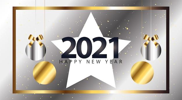 Bonne année 2021 avec étoile et sphères suspendues style argent, bienvenue à célébrer et illustration de thème de voeux
