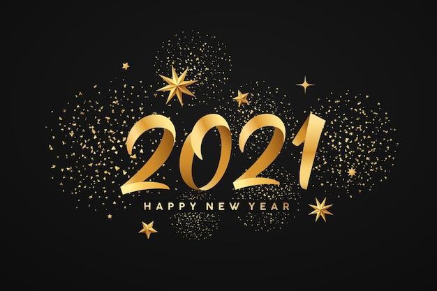 Bonne année 2021, étoiles d'or, d'or