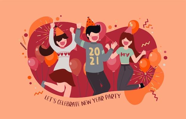 Bonne année 2021 fête affiche ou bannière avec des icônes de boîte-cadeau