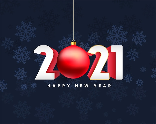 Bonne année 2021 fond avec boule de noël
