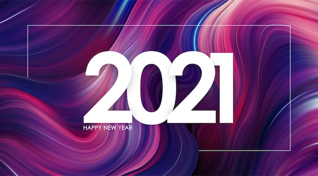 Bonne année 2021. fond de course de peinture torsadée abstraite colorée.