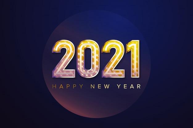 Bonne année 2021 avec fond de lune