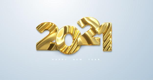 Bonne année 2021. illustration 3d. signe d'événement de vacances nye. caractères en métal doré 2021 avec motif sculpté ondulé isolé sur blanc