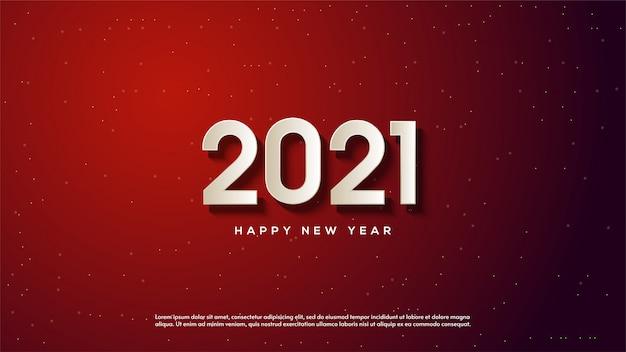 Bonne année 2021, avec des illustrations de nombres blancs 3d sur fond rouge foncé.