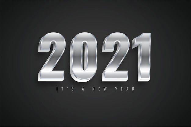 Bonne année 2021 modèle argent coloré dégradé pour calendrier