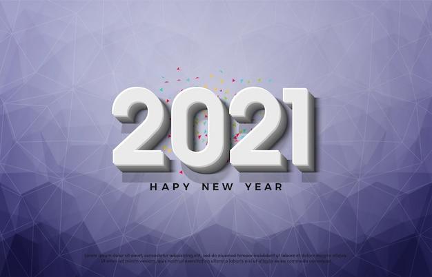 Bonne année 2021 avec des nombres 3d sur un fond de verre brisé.