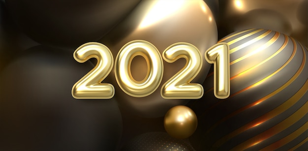 Bonne année 2021. numéros métalliques dorés 202.