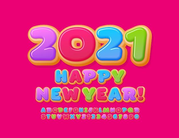 Bonne année 2021. police savoureuse colorée. chiffres et lettres de l'alphabet lumineux donut