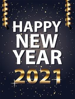 Bonne année 2021 et style or confettis, bienvenue à célébrer et illustration de thème de voeux