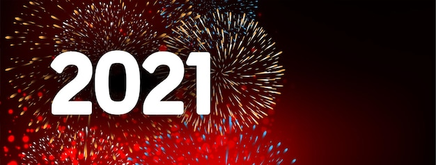 Bonne année 2021 vecteur de conception de bannière de feu d'artifice