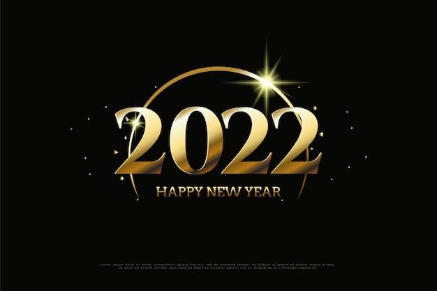 Bonne année 2022 avec des arches dorées qui brillent sur les chiffres