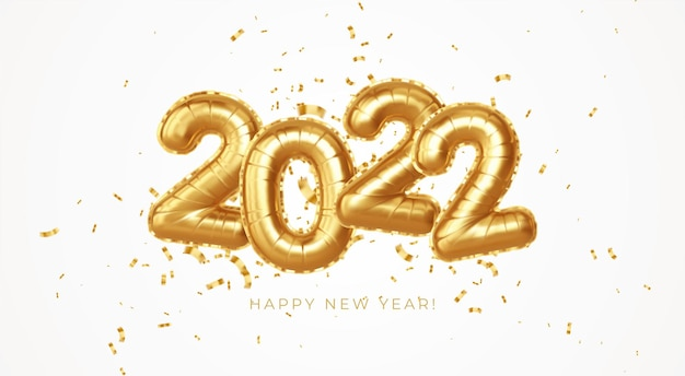 Bonne année 2022 ballons en feuille d'or métallique sur fond blanc. ballons à l'hélium doré numéro 2022 nouvel an. illustration vectorielle eps10