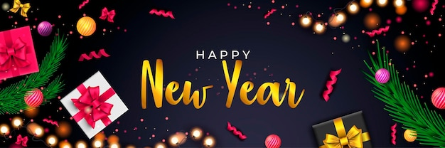 Bonne année 2022 bannière noël fond sombre avec des rubans de boules de guirlandes de cadeaux