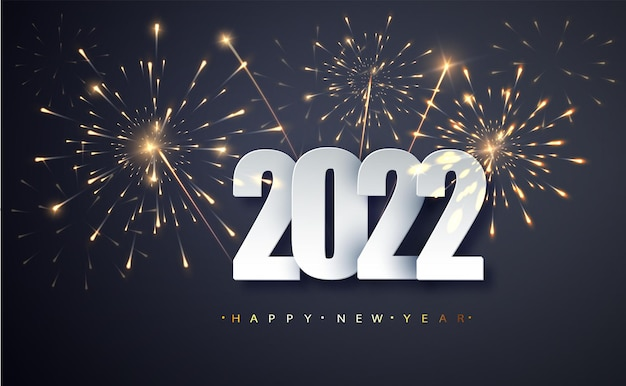 Bonne année 2022. bannière de voeux de nouvel an avec des numéros date 2022 sur fond de feux d'artifice.