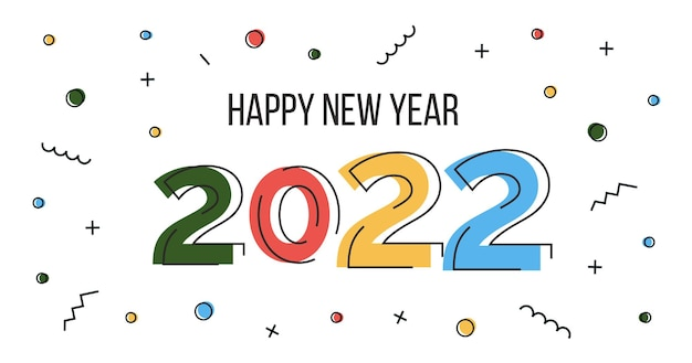 Bonne année 2022 bannière web dans un dessin abstrait plat avec des nombres vecteur poste géométrique de memphis