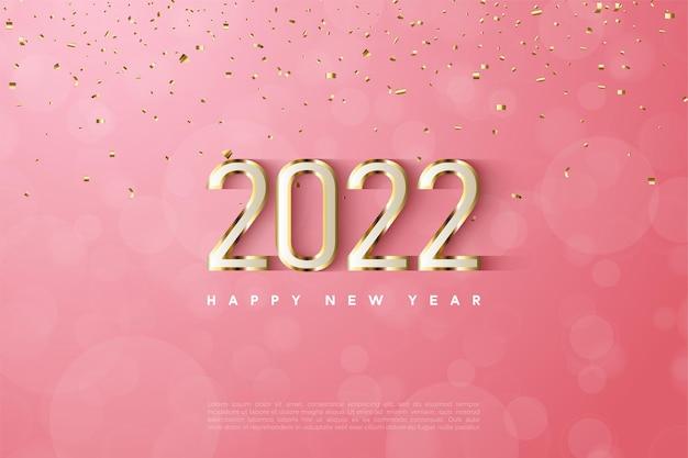 Bonne année 2022 avec bordure en chiffres dorés fantaisie
