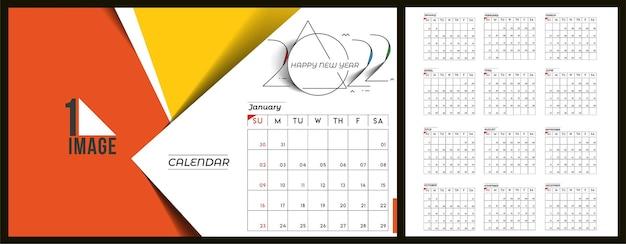 Bonne année 2022 calendrier - éléments de conception de vacances de nouvel an pour les cartes de vacances, affiche de bannière de calendrier pour les décorations, fond d'illustration vectorielle.