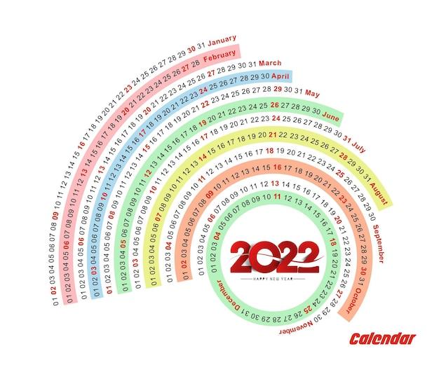 Bonne année 2022 calendrier