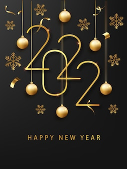 Bonne année 2022 carte de voeux ou modèle de bannière. numéros métalliques dorés 2022 avec flocon de neige brillant et confettis sur fond noir. décoration de vacances.