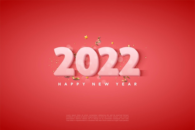 Bonne année 2022 avec des chiffres blancs laiteux