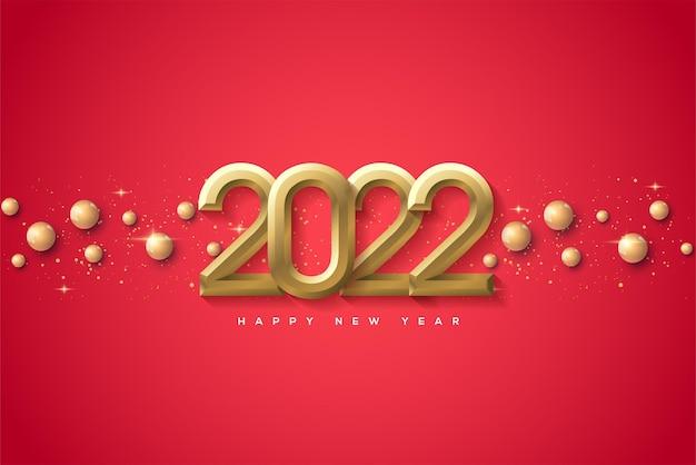 Bonne année 2022 avec des chiffres dorés et des détails dorés