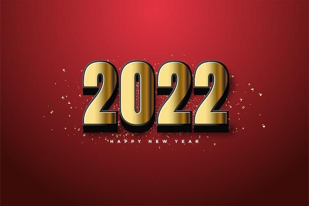 Bonne année 2022 avec des chiffres en or enveloppés d'un noir élégant