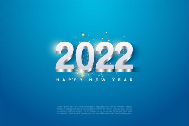 Bonne année 2022 avec des chiffres plaqués argent