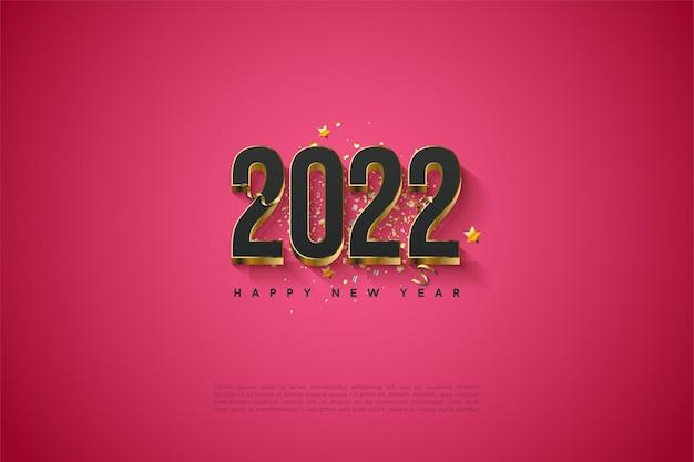 Bonne année 2022 avec des chiffres plaqués or