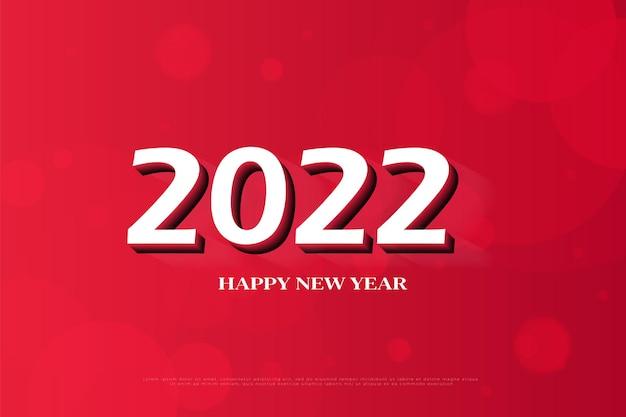 Bonne année 2022 avec la couleur des chiffres blancs 3d