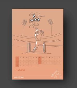 Bonne année 2022 cricket calendar - éléments de conception de vacances de nouvel an pour les cartes de vacances, affiche de bannière de calendrier pour les décorations, fond d'illustration vectorielle.