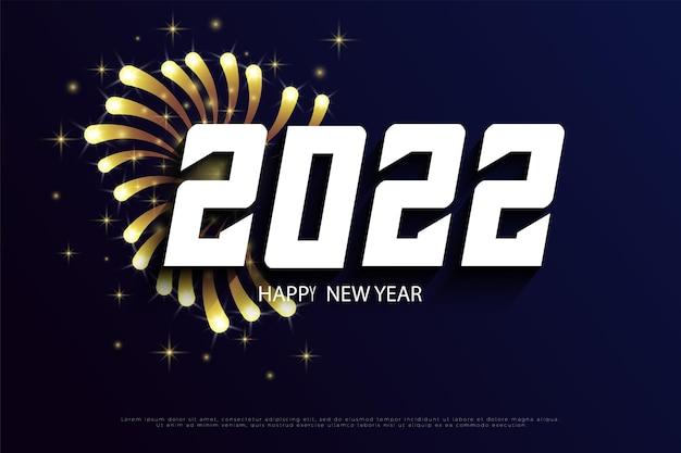 Bonne année 2022 avec décoration feu d'artifice