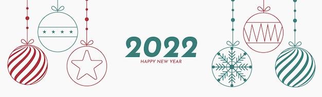 Bonne année 2022 avec décoration de noël