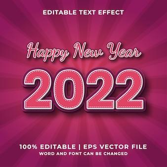 Bonne année 2022 effet de texte modifiable 3d vecteur premium