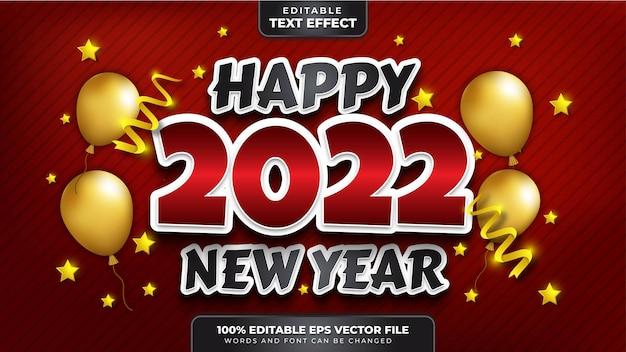 Bonne année 2022 effet de texte modifiable noir rouge 3d