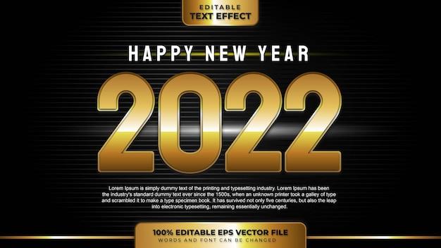 Bonne année 2022 effet de texte modifiable en or 3d