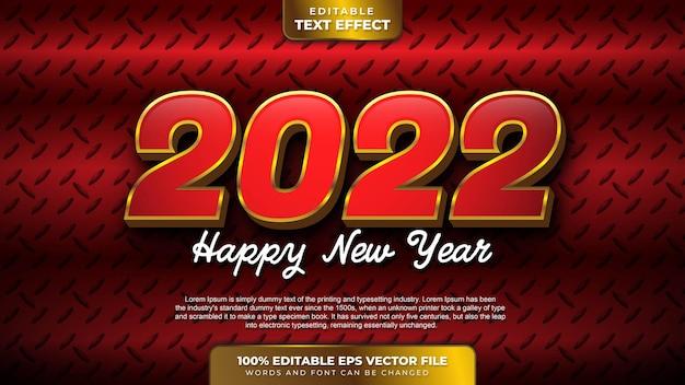 Bonne année 2022 effet de texte modifiable en or rouge 3d