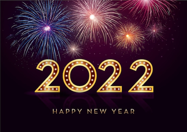 Bonne année 2022 et feux d'artifice avec espace de texte sur fond coloré célébrant la nouvelle année