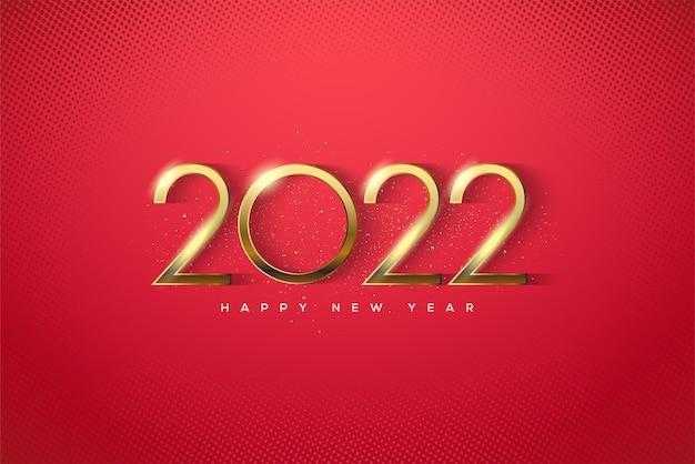 Bonne année 2022 avec de fins chiffres en or de luxe