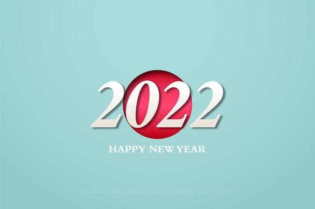 Bonne année 2022 sur fond de cercle rouge