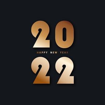 Bonne année 2022 fond noir festif avec nombres d'or