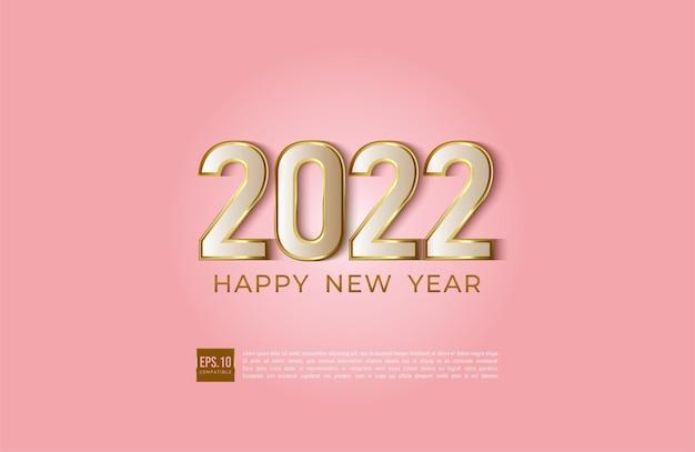 Bonne année 2022 illustration de bordure dorée de style moderne