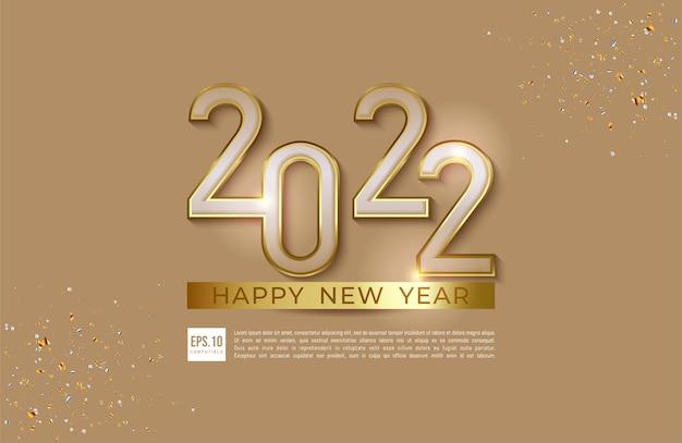 Bonne année 2022 illustration de style de luxe