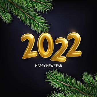 Bonne année 2022. illustration vectorielle de vacances réalistes de nombres métalliques dorés 2022 avec des branches de sapin. signe 3d.