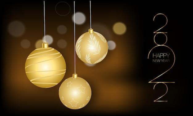Bonne année 2022 modèles vectoriels élégants réalistes boules de noël réalistes